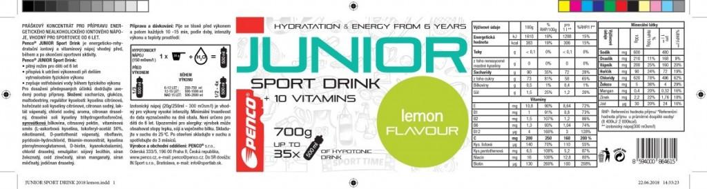 Electrolyte drink for kids   JUNIOR SPORT DRINK 700g   Lemon č.3