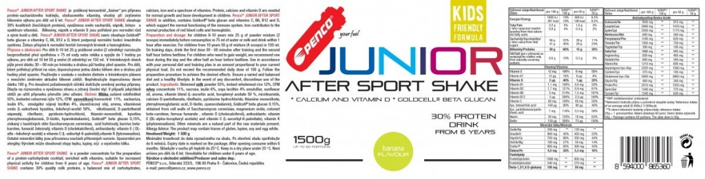 Recovery drink for juniors  JUNIOR AFTER SPORT SHAKE 1500g  Banana č.2