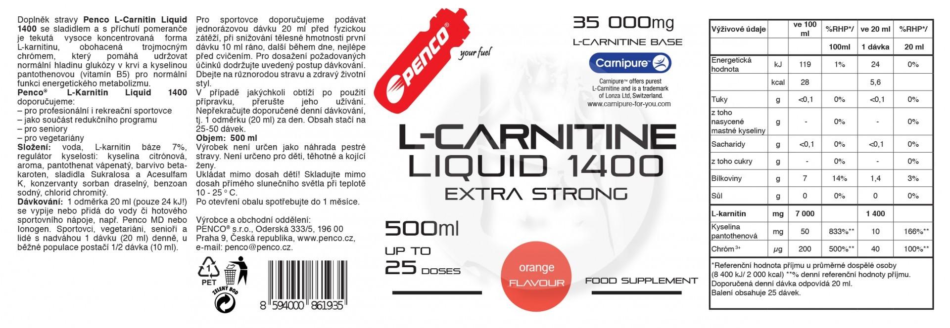 Liquid fat burner   L- KARNITIN LIQUID 500ml   Orange č.2