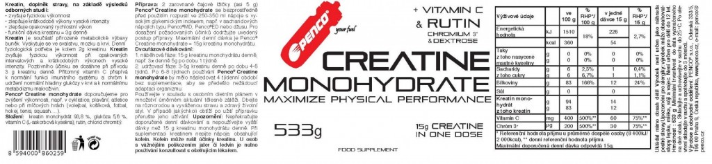 CREATINE MONOHYDRATE 533g   č.2