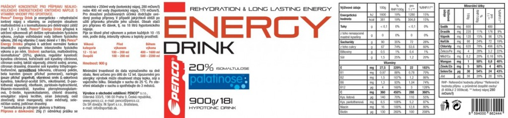 Iontový nápoj  ENERGY DRINK 900g  Pomeranč č.3