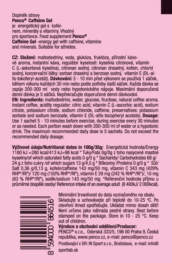 Energetický gel  Penco CAFFEINE GEL 35g   Káva č.2