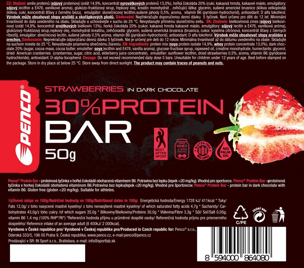 Proteinová tyčinka   PROTEIN BAR 50g   Jahoda v pravé čokoládě č.4