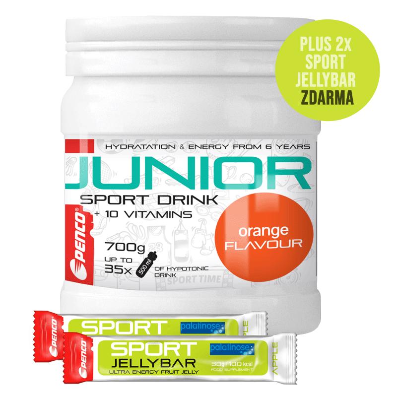 Iontový nápoj pro děti   AKCE JUNIOR SPORT DRINK 700g   Pomeranč + 2X SPORT JELLYBAR č.1