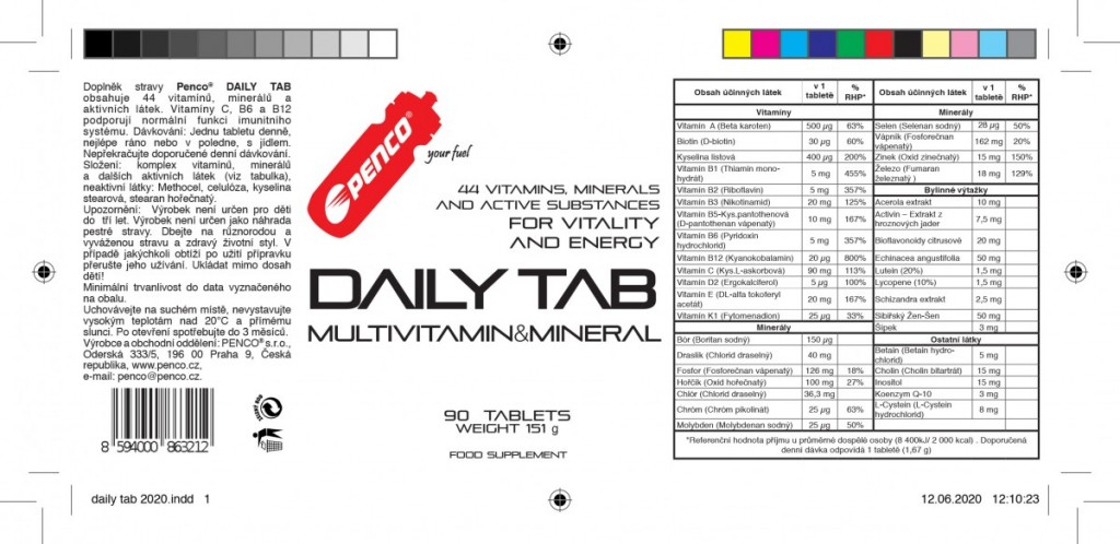 Multivitamin s minerály  DAILY TAB 44  90 tablet č.2