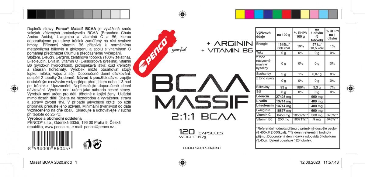 Aminokyseliny  BCAA MASSIF  120 tobolek č.2