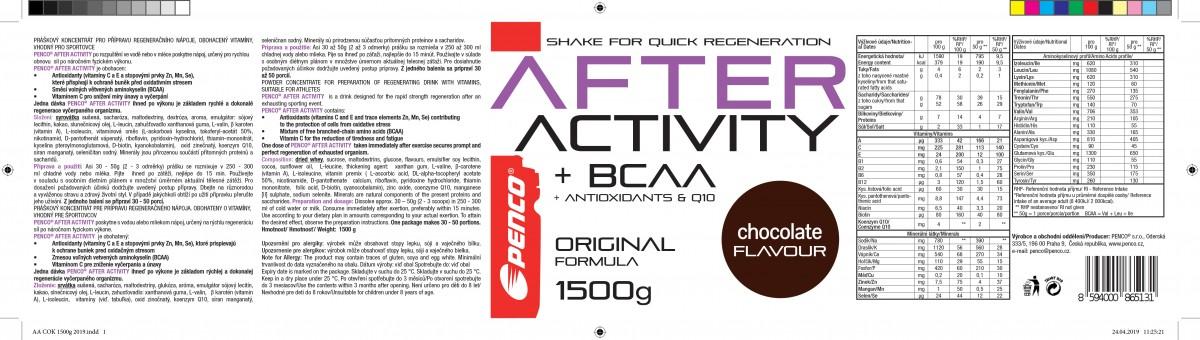 Regenerační nápoj   AFTER ACTIVITY 3000g Čokoláda  + PENCO Letní čepice Kalas č.3