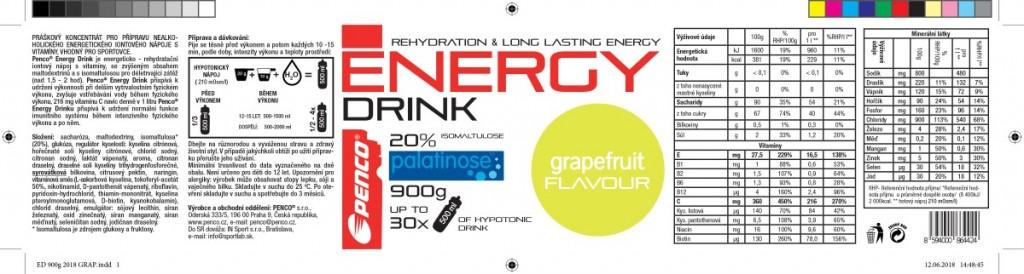 Iontový nápoj  ENERGY DRINK 900g  Grapefruit č.5