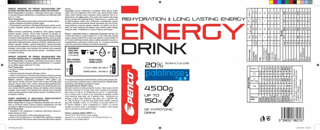 Iontový nápoj  ENERGY DRINK 900g  Grapefruit č.6