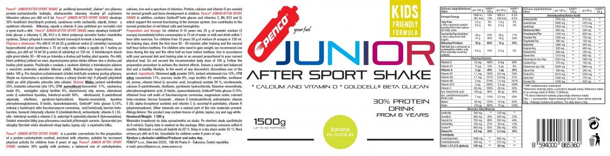Regenerační nápoj pro juniory  JUNIOR AFTER SPORT SHAKE 1500g  Banán č.2