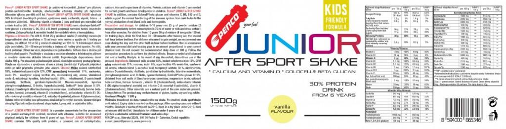 Regenerační nápoj pro juniory  JUNIOR AFTER SPORT SHAKE 1500g  Vanilka č.2