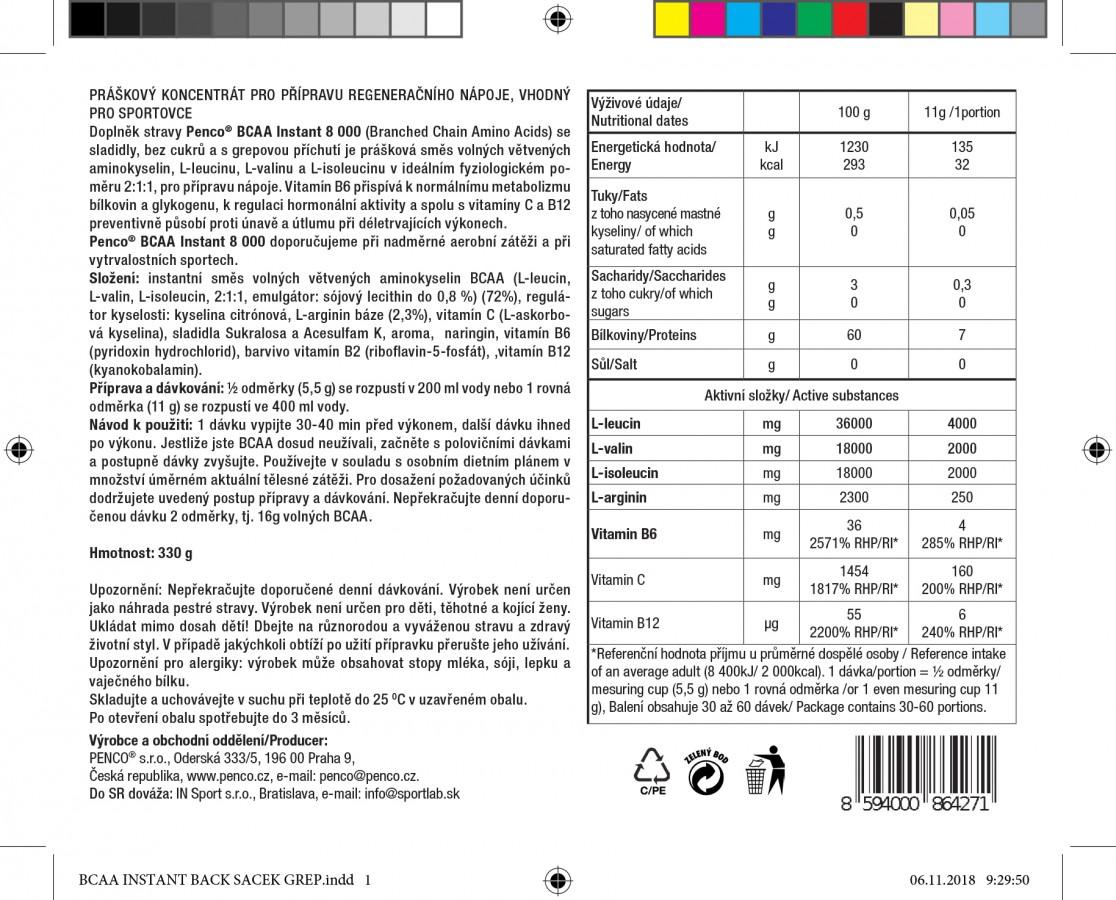 Aminokyseliny  BCAA INSTANT 8000  Grep, 330g č.2