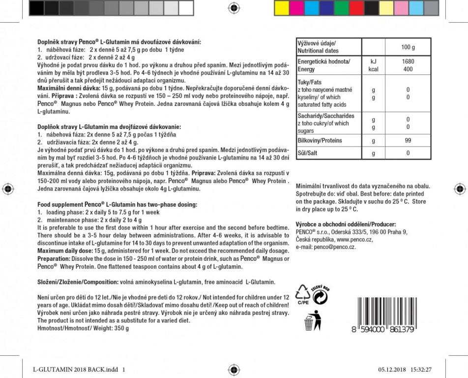 Aminokyselina  L-GLUTAMIN 350g   100% PURE č.3