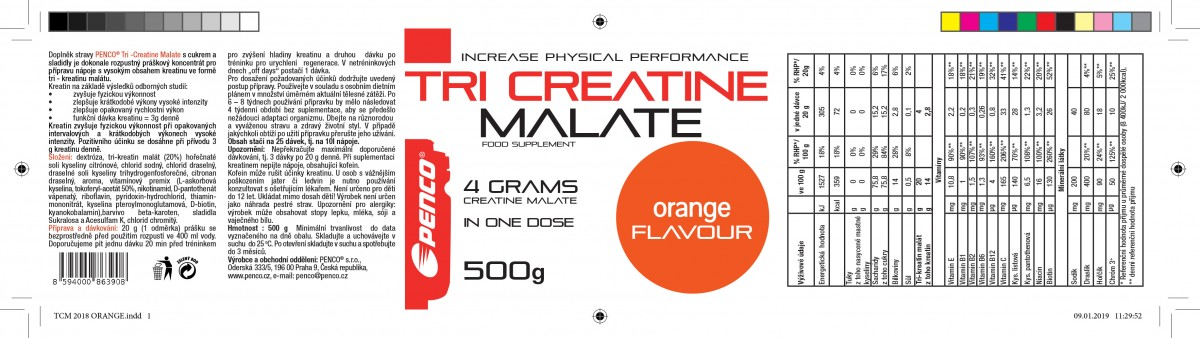 Kreatin nápoj  TRICREATIN MALÁT 500g   Pomeranč č.2