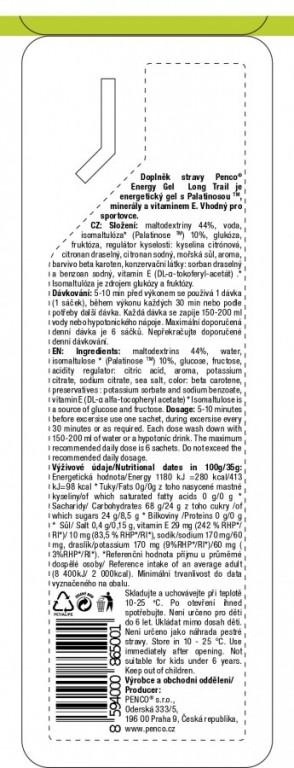 Energetický gel  ENERGY GEL LONG TRAIL 35g   Citron č.4