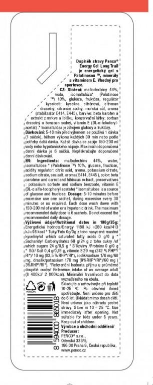 Energetický gel  ENERGY GEL LONG TRAIL 35g   Růžový grep č.3