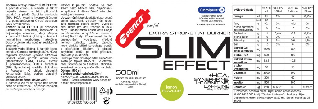 Spalovač tuků  SLIM EFFECT 500ml  Citron č.2