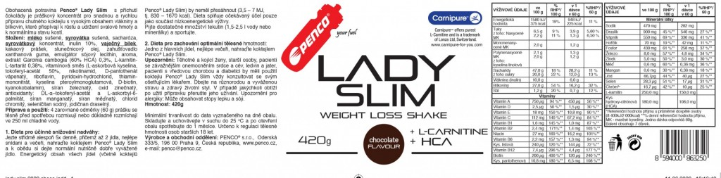 Koktejl na hubnutí  LADY SLIM 420G  Čokoláda č.2