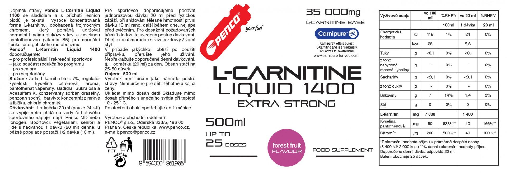 Spalovač tuků   L- KARNITIN LIQUID   Lesní plody č.2