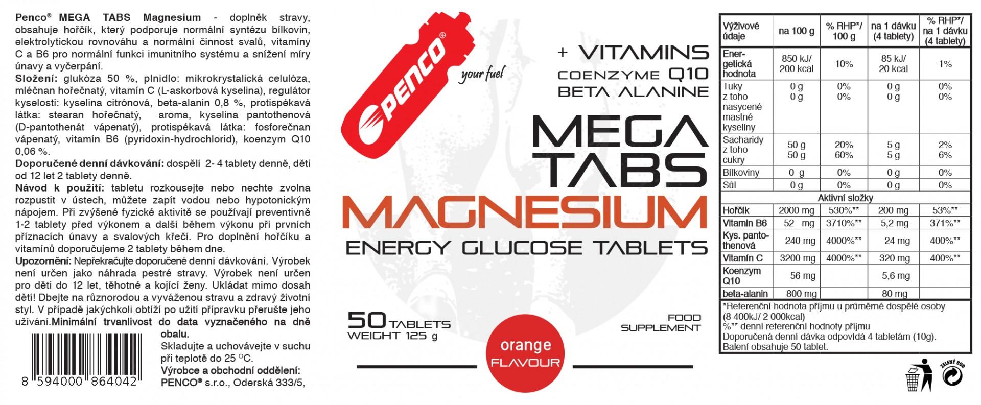 Hořčíkové tablety  MEGA TABS MAGNESIUM  50 cucavých tablet č.2