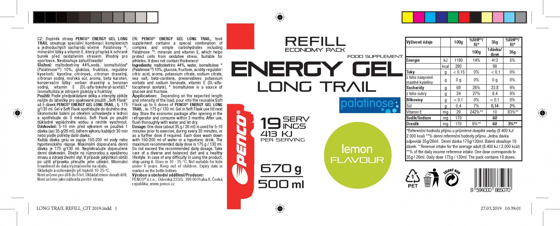 Energetický gel   LONG TRAIL REFILL   Citron č.2