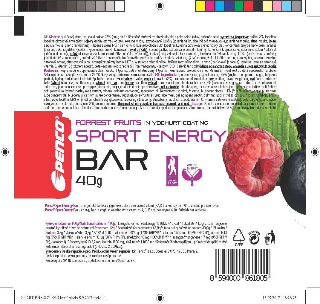 Energetická tyčinka  SPORT ENERGY BAR   Lesní plody v jogurtu č.3