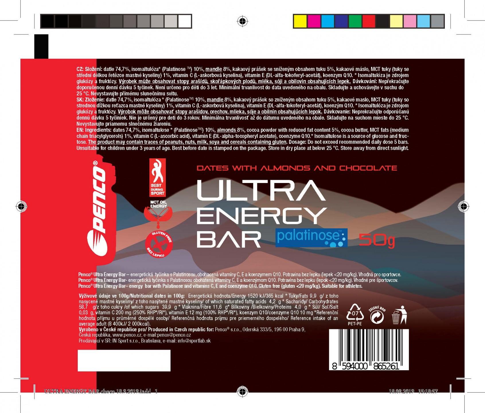 Energetická tyčinka  ULTRA ENERGY BAR 50g   Datle & Kakao & Mandle č.2