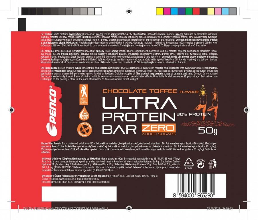 Proteinová tyčinka   ULTRA PROTEIN BAR 50g   Čokoláda-Toffee č.2