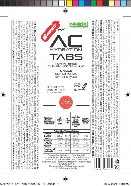 Rozpustné tablety s elektrolyty   AC HYDRATION TABS   Pomeranč č.4