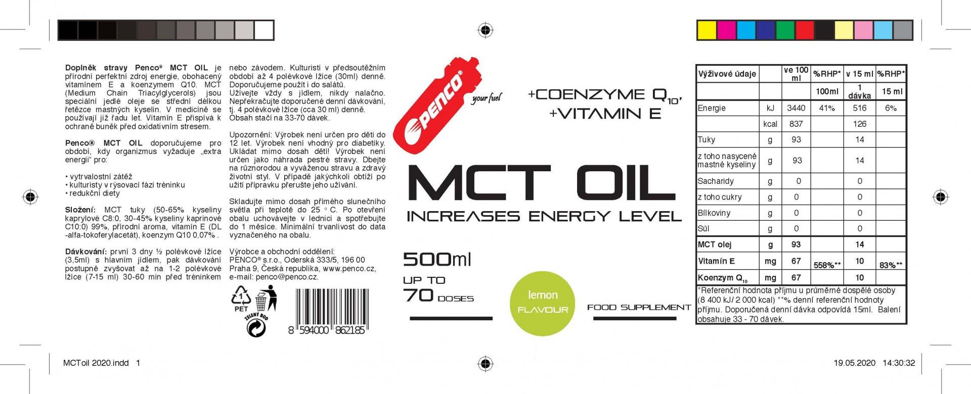 Rychlý zdroj energie  MCT OIL 500ml  Citron č.2
