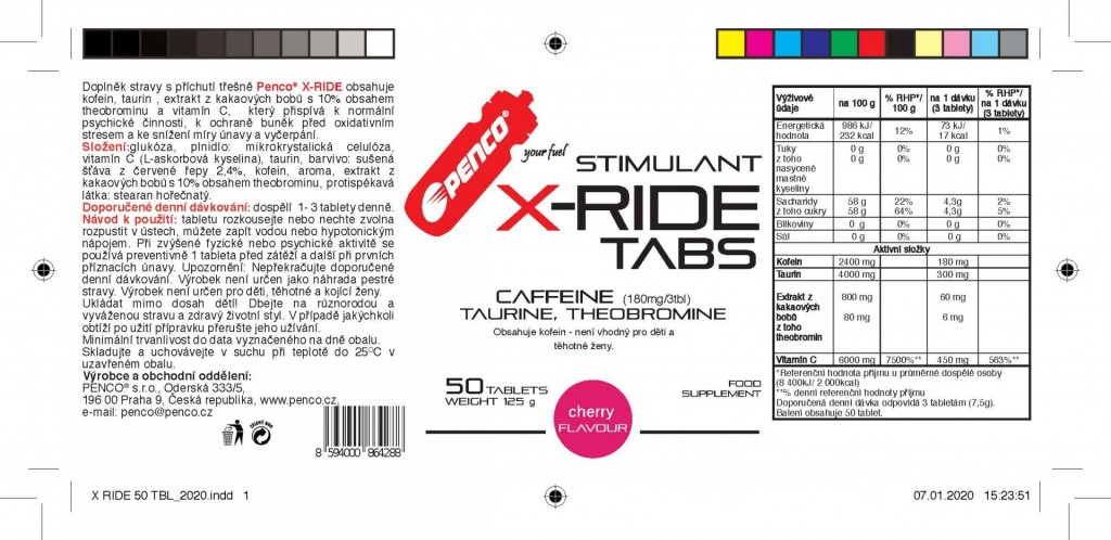 Energy stimulant   X-RIDE 50 tbl   Cherry č.3