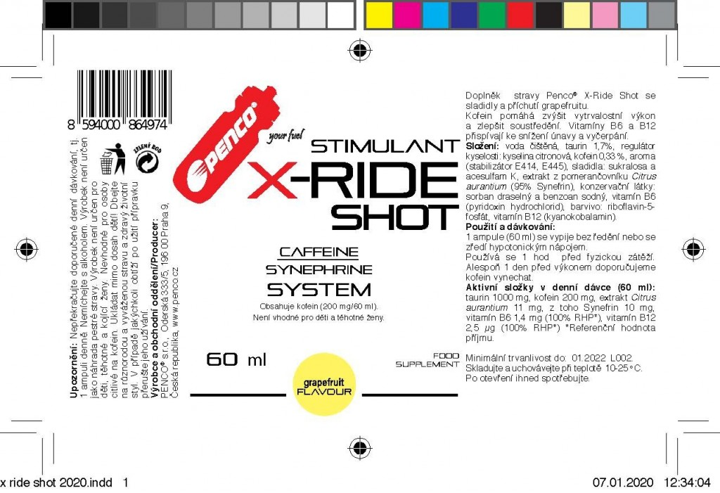 Energy stimulant   X-RIDE SHOT 60ml   Grapefruit č.2