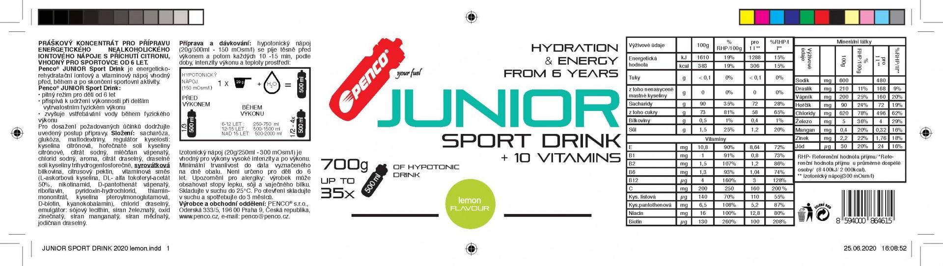 Iontový nápoj pro děti   JUNIOR SPORT DRINK 700g   Citron č.3