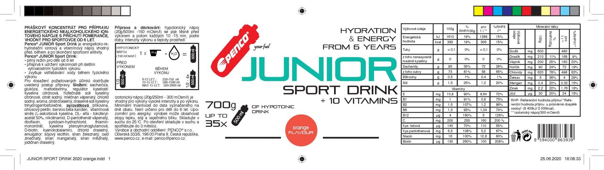 AKCE   JUNIOR SPORT DRINK 700g + BIDON 500ML   Pomeranč č.4
