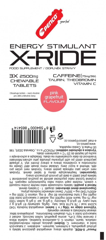 Energy stimulant   X-RIDE 3tbl in sachet  Pink Grapefruit č.2