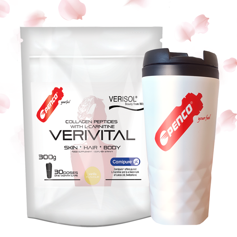 Kolagenní peptidy  VERIVITAL 300g   Vanilka + Termohrnek 300ml č.1