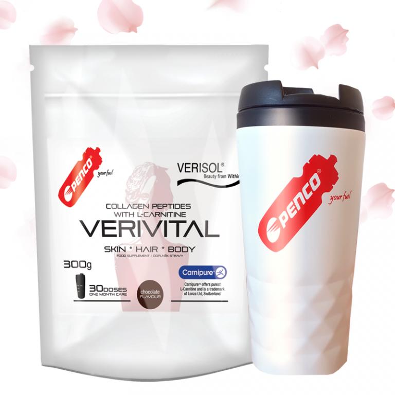Kolagenní peptidy  VERIVITAL 300g   Čokoláda + Termohrnek 300ml