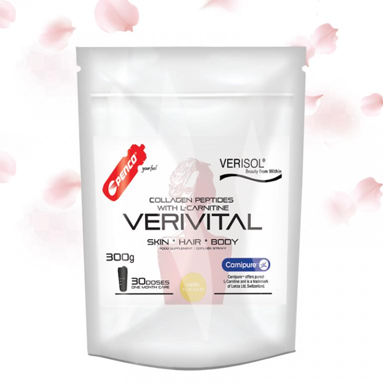 Kolagenní peptidy  VERIVITAL 300g   Vanilka + Termohrnek 300ml č.3